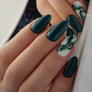 20 Elegant Autumn Nail Designs Have To Try -  Blackish Green Floral Stiletto Nails Inspo