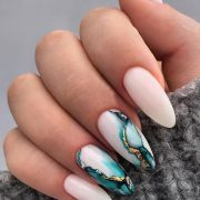 30 Wow Wedding Nail Ideas ❤ nail ideas wedding white nails with marble blue pa...