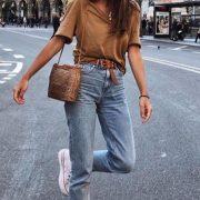 Casual style camel t-shirt with mom fit jeans Follow-> Büşra Çalışkan - ...