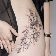 Flower Tattoos For Girls and Women: rose tattoo on hip; wildflower tattoo on thi...