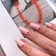Lovely Nude Nails With Heart Accent❤ 35 Terrific Nude Nail Design Ideas You Ca...