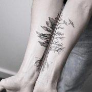#tattoo #black and white #b&w #tree #dog #flower ...