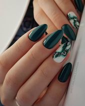20 Elegant Autumn Nail Designs Have To Try   Blackish Green Floral Stiletto Nail... pin.2elci.com Best Nails Pin
