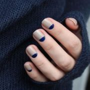 Chanel Frenzy with blue half moons nail design /...