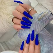 Matte Blue Coffin Nails - #acrylicNails #almondNails #beachNails #birthdayNails ...