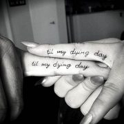 Til My Dying Day Quote Finger Couple Tattoos...
