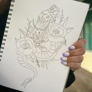 Dragon and roses design little bit of a different mixture! Design available! . . .                    ...