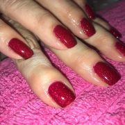 ~ A classic set of red Shellac nails with a touch of glitter. CND Shellac Ruby R...