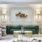 35 Beautiful green modern style living room decor with green velvet tufted sofa, luxury living room