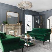 Transitional living room: mid/dark grey walls, wall pa...